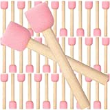 40 Pieces 0.8inch Round Sponge Foam Brush Set Paint Sponge Brush Wooden Handle Foam Brush Sponge Painting Tools for Painting Crafts