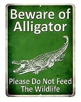 アメリカ雑貨 ワニにご注意 Beware of Alligator アメリカン雑貨 サインプレート メタルプレート 看板 おしゃれ カフェ バー 店舗 ガレージ 動物