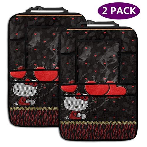 TBLHM Hello Kitty Lot de 2 Sacs de Rangement pour siège arrière de Voiture avec Motif cœur