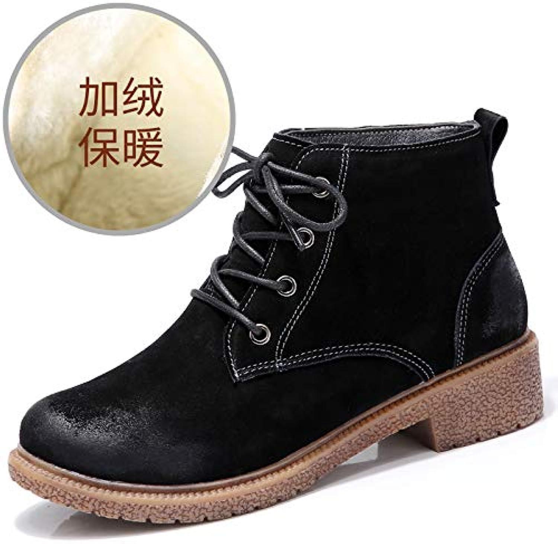 Top Shishang Martin Stiefel Plus Samt hohe Schuhe warme Leder Baumwolle Damen Stiefel, schwarz, 36