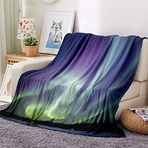 BHFDCR 3D Blanket Purple aurora Sherpa Printed Throw Blanket for Kids Adults Soft Warm Microfiber Fleece Solid Blanket for Bed, Couch and Travel (55x80 inch)