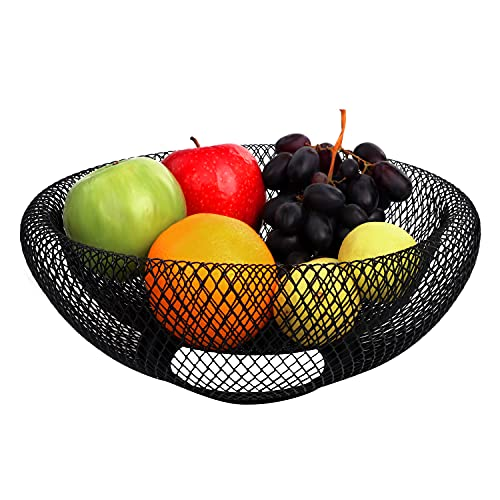 BELLE VOUS Fruteros de Cocina Modernos Metal Negro 24 cm - Cesta Fruta Decorativa Cuenco para Vegetales y Pan – Adornos para Cocina, Hogar, Decoración Centro de Mesa y Encimera