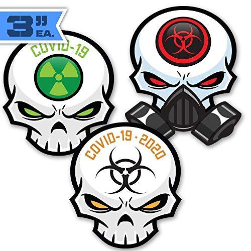 3' Variety 3-Pack Cool Essential Worker Skull Stickers - Covid-19 2020 Skull Decals for Cars & Trucks, Coolers & Beer Fridges. Pandemic Virus Bio Crisis Hazard Toxic Waste Symbols. Gas Mask Skulls