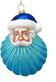 December Diamonds Blown Glass Embellished Seashell Santa Christmas Ornament