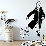 woyaofal The Adventures of Tintin Adesivo murale Adesivi murali rimovibili Carta da parati FAI da te Carta da parati Decorativa in vinile per la casa 57X88CM