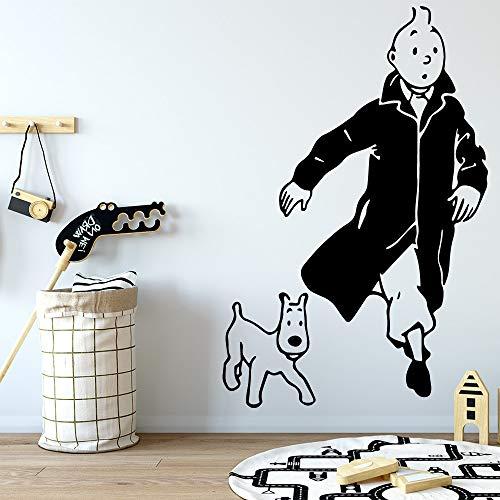 woyaofal The Adventures of Tintin Adesivo murale Adesivi murali rimovibili Carta da parati FAI da te Carta da parati Decorativa in vinile per la casa 42X65CM