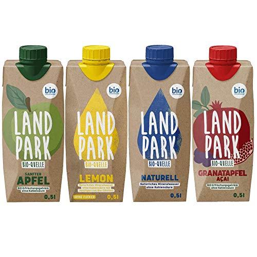 Landpark Bio-Mineralwasser Mix – Naturell, Lemon, Granatapfel-Açai & Apfel | 12 x 0,5 L im Tetra Pak | natürliches Wasser ohne Kohlensäure aus der Bio-Quelle | Wasser mit Geschmack | to-go | pfandfrei