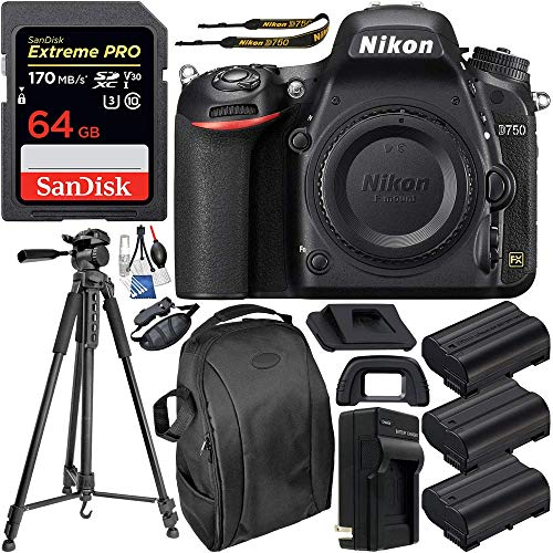 """Nikon D750 DSLR Camera (Body Only) & Deluxe Accessory Bundle – Includes: SanDisk Extreme PRO 64GB SDXC Memory Card, 2X Extended Life Replacement Battery, 75"""" Tripod, Professional Backpack & More"""