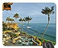 海のマウスパッド、マウスパッドを見渡す美しい家のテラス(マウスパッドのビーチ)