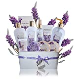 Spa Gift Baskets for Women Lavender - #1 mothers day gift set in essential oils for Relaxation -11 Pcs At Home Spa Kit - Holiday Beauty Gift Ideas, bubble Bath, Body lotion scrub, bath bomb salts
