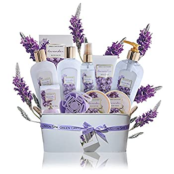 Spa Gift Baskets for Women Lavender - #1 mothers day gift set in essential oils for Relaxation -11 Pcs At Home Spa Kit - Holiday Beauty Gift Ideas bubble Bath Body lotion scrub bath bomb salts