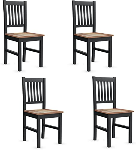 lowest Giantex lowest Set of online 4 Wood Dining Chairs, Whitesburg Dining Room Side Chair w/Wide Seat, Easy to Assemble, Parker Country Farmhouse Style, for Dining Room Living Room Restaurant,Black sale