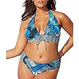 Abrahmliy Bikini Bañador de Playa de Dos Piezas para Mujer con Talla Grande y sin Espalda Tankini Set Halterneck para Mujeres (Color : Ocean, Size : XXXXL)