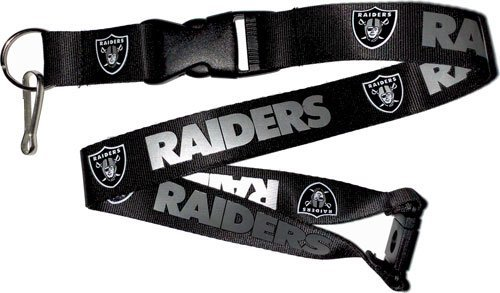 NFL Oakland Raiders Team Color Lanyard, 22-inches, Black