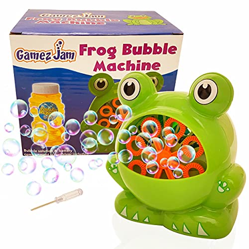 Gamez Jam Frog Bubble Machine for kids, toddlers, babies, grown-ups, even dogs. Bubble maker machine to entertain children in the garden and indoors. Battery operated bubbles toy with bubble solution.
