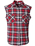 NUTEXROL Men's Casual Flannel Plaid Shirt Sleeveless Cotton Plus Size Vest Red and Black