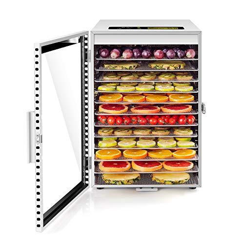 Dörrautomat Edelstahl • Doppelventilator 360 ° Effizientes Dry • Dörrgerät 12 Etagen • 20-90℃ Temperaturregelung • 24 Stunden Timer • 800 W • Überhitzungsschutz • Rezeptheft für Fleisch Obst Gemüse