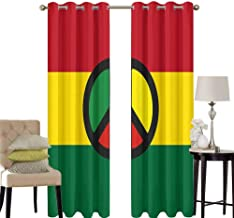 hengshu Jamaican Grommet Curtains for Bedroom Reggae Culture Peace Symbol Caribbean Country Flag Design Americas Rasta Culture for Backdrop Curtain W42 x L84 Inch Multicolor