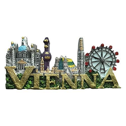 3D Wien Österreich Kühlschrank Kühlschrankmagnet Tourist Souvenirs Handgemachte Harz Handwerk Magnetische Aufkleber Home Küche Dekoration Reise Geschenk