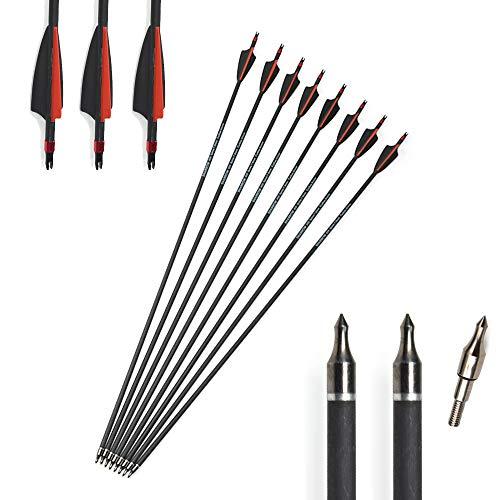 AMEYXGS 6/12 Piezas Tiro con Arco Flechas de Carbono Flechas de Caza 31 Pulgadas Spine 400 para Arco Compuesto y Arco Recurvo
