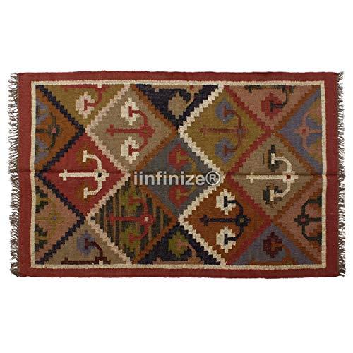 iinfinize Alfombra de yute de lana india vintage tejida a mano Kilim Vintage Alfombra decorativa para el hogar, alfombra rústica de yute, camino de mesa de gran área