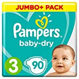 Pampers - Baby Dry - Couches Taille 3 (5-9 kg) - Jumbo+ Pack (x90 couches)