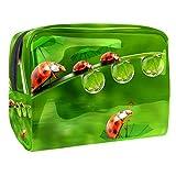 Bolsas de Maquillaje Estuche multifunción para Organizador de Bolsas de cosméticos de Viaje portátil Little Ladybug en el Paraguas en el Estanque con Neceser con Cremallera para Mujer