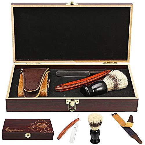 Vintage Barber Salon Caja de madera excepcional Maquinilla de afeitar de madera con cuello de corte recto, Brocha de afeitar de pelo de tejón negro de madera, Strop de cuero