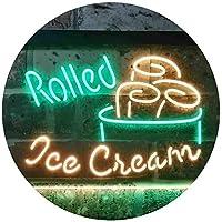 Rolled Ice Cream Shop Dual Color LED看板 ネオンプレート サイン 標識 緑色 + 黄色 600 x 400mm st6s64-i3500-gy