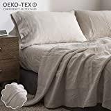Simple&Opulence 100% Linen Sheet Set Embroidery(King,Embroidery Linen)