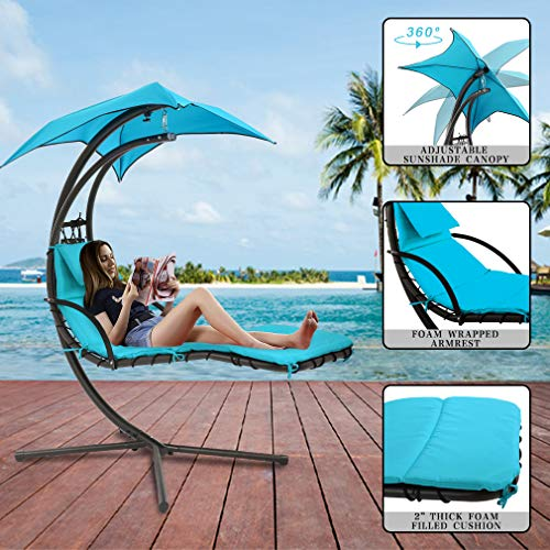 Fdw Patio Chair Hanging Chaise Lounger Chair Floating Chaise Canopy Swing Lounge Chair Hammock Arc Stand Air Porch Stand For Outdoor Indoor Buy Online In Faroe Islands At Desertcart