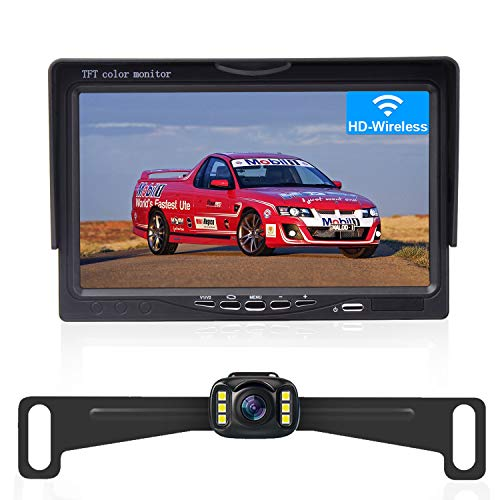 """LeeKooLuu G3 Wireless Backup Camera for Cars,SUVs,UTVs,Minivans, 7"""" LCD Monitor Rear/Front View System IP69 Waterproof Super Night Vision for Continuous/Reversing Use DIY Guide Lines"""
