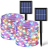 2 Pack Each 33ft 100 LED Solar Fairy Lights Outdoor Waterproof, Silver Wire Multicolor Solar String Lights, 8 Modes Solar Christmas Lights