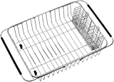 Dish drying Rack with Stainless Steel Utensil Silverware Storage Holders, Dish Rack Over Sink in Sink or On Counter, Adjustable Arms Dish Drainer Rustproof