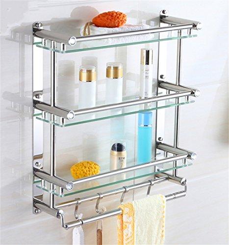 Porte-serviettes de salle de bains Étagères de salle de bain Pendentif de salle de bain matériel de treillis en verre en acier inoxydable Tenture murale/salle de bains (taille : 50 * 54cm)