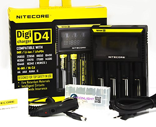 NiteCore-D4+CAR-Adapter+BBOX-T Bundle Nitecore D4 Charger Integrated LCD Panel Display for Li-Ion Ni-MH Ni-Cd Batteries with EASTSHINE Car Adapter and EASTSHINE Battery Box