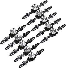 DIELUNY 10 stks lade dressoir knoppen pull handgrepen - Crystal Glass Diamond decoratieve knoppen met plaat, kast deur kno...