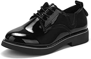 [THLD] レースアップ シューズ レディース フラット オールシーズン オックスフォード マニッシュ エナメル ローヒール おじ靴 低反発 レースアップ メンズライク 歩きやすい 厚底 靴下 フラットシューズ ブラック シルバー サイドゴア