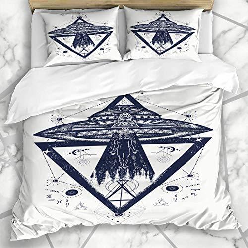 Juegos de fundas nórdicas Geometry Universe UFO Aliens Persona secuestrada Tatuaje Conspiración Parques Astronaut Contact Ropa de cama de microfibra esotérica con 2 fundas de almohada Cuidado fácil An