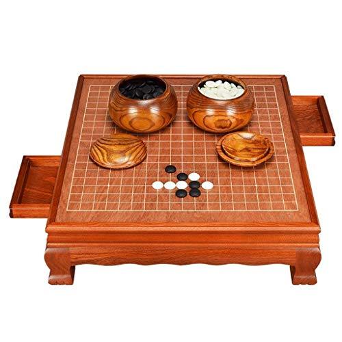 Luckyw Tablero de ajedrez de Madera Maciza, cajón Integrado con Marco de Mesa de ajedrez de Madera