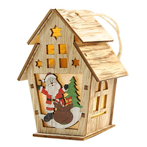 Christmas Wooden House Warm Yellow LED Lights with Tree Window, Santa Elk Holiday Decorations Ornaments (M, White)