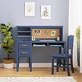 Guidecraft Taiga Desk, Hutch and Chair - Navy: Children's Wooden Study Computer Workstation, Kids Bedroom Furniture