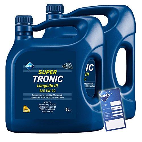 2x 5 L = 10 Liter ARAL SuperTronic Longlife III 3 5W-30 Motoröl inkl. Ölwechselanhänger