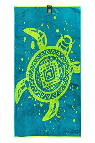jilda-tex Strandtuch 90x180 cm Strandlaken Handtuch 100% Velours Frottier Pflegeleicht (Ethno Turtle)