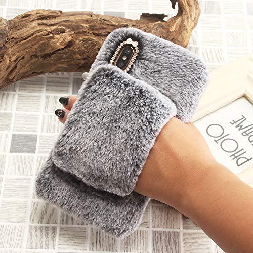SevenPanda für Samsung Galaxy S7 Handschuh Hülle, Handheld Bling Diamant Netter Armband Case Warme Winter Handgemachte Weiche Plüsch Schutzhülle Bowknot Pelz Hair Tasche - Dunkelgrau