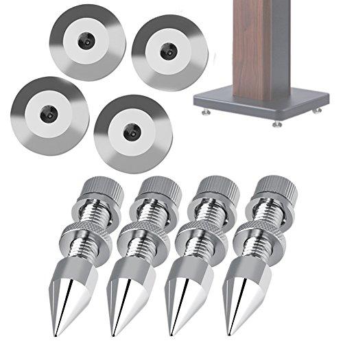 Mugast Pack de 4 Puntas de Desacoplo para Altavoces Cobre Puro Cromado Spikes de Desacople para Altavoces de Alta Aidelidad o Marco de Altavoz.