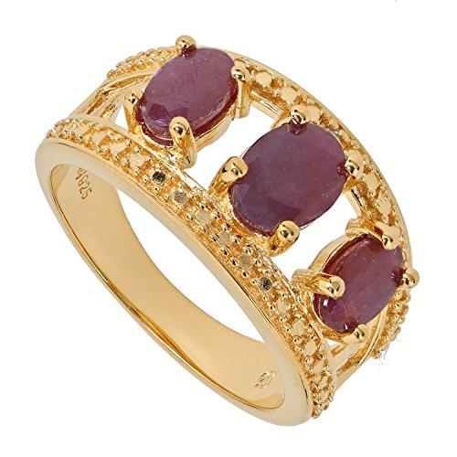 Yvesse Design Damen-Ring Sterling-Silber 925 goldplattiert Rubin RW19