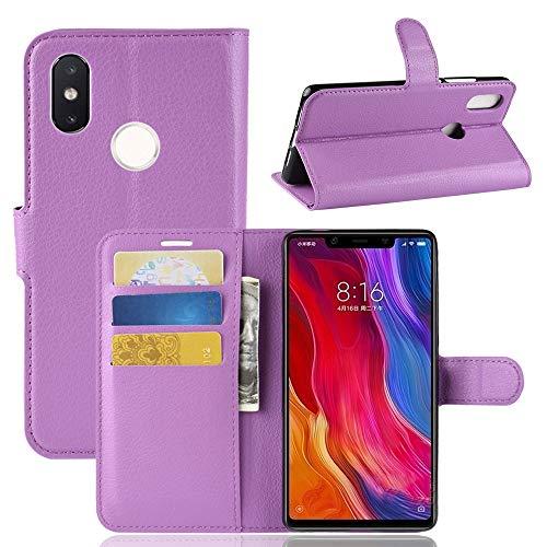 GANK MYE Custodia in Pelle Orizzontale Flip Texture AYSMG Litchi for Xiaomi Mi 8 SE, con Portafogli e Porta Carte di Credito (Nero) (Color : Purple)
