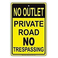アルミニウム金属ノベルティ危険サイン、アウトレット私道なし不法侵入なし、金属錫サイン、錫サイン私有財産のためのヴィンテージコーヒーウォールコーヒー&バーの装飾、屋外危険サイン