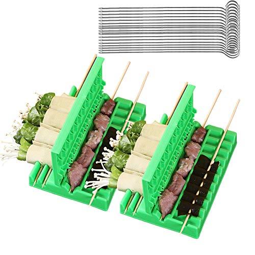 CANDeal Ensemble d'outils de brochettes de Viande de 22 pièces, 20 pièces de brochettes de brochettes de Barbecue en Acier Inoxydable et 2 Accessoires de brochettes de Viande, Porteur de Viande